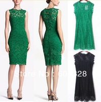 NEW 2014 Hot Women Summer Fashion Sexy Vintage Lace Sleeveless Bodycon Skirt Floral Party Tunic Evening Slim Bandage Dress S M L