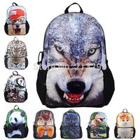 Best Selling school backpack for teenage boys, school bags for college students, tiger head/dog/owl/panda animals sales BBP109