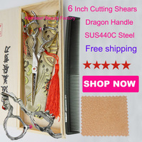 Professional 6inch red diamond Dragon handle hairdresser cutting scissors made of Japanese SUS440C stainless steel,hot selling
