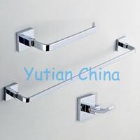 Free shipping,Square Brass chrome Bathroom Accessories Set,Robe hook,Paper Holder,Towel Bar,3 pcs/set-wholesale-retail-YT-11100