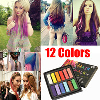 12 Color Easy Temporary Colors Non-toxic Hair Chalk Dye Soft Hair Pastels Kit
