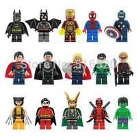 Super Hero Toys 15pcs/lot Building Blocks Sets Model Figures The Avengers Classic Toys DIY Bricks Minifigures For Children