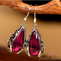 Brand Vintage Jewelry Sterling Silver Earrings Red Corundum Earrings High Quality Wholesale Accessories Free Shipping 7.6g