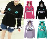 Women Colored Zipper Smile Mouth Cat 3D Ear Hooded Cat Front Jumper Sweater Long Sleeve Fleece Sweartshirt Tops Free shipping