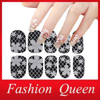 3d White Transparent Lace Nail Rhinestone Nail Art Stickers,16Desgins,6sheets/lot Sexy Diamond Flower Nail Wraps Polish  Decals