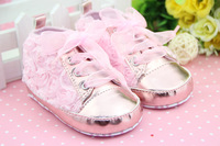 Fashion baby girl first walkers Baby Flower Shoes Lace Girls Dress Princess Shoes, Baby first walking shoes 4 color GX-311