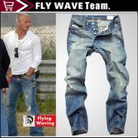 Free Shipping retail(1piece) fashion 2013 high quality Nostalgic retro beggar hole cotton DI brand men's jeans 73
