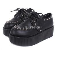 Harajuku Platform Creepers Shoes Women's Fashion Brand Punk Platform Shoes Black/Red/White High Quality Free Shipping