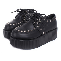 Harajuku Platform Creepers Shoes Women's Fashion Brand Punk Platform Shoes Black/Red/White High Quality Free Shipping
