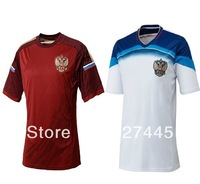 Wholesale high quality 2014 RUSSIA soccer jersey Free shipping Russian Football shirts Home red & away white.