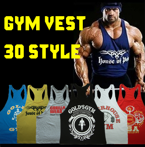 New 2014 Bodybuilding Cotton Vest Power Brand Golds Gym Tank top T Shirt gasp Sport Large Size XXL Fit 100KG Men's sleeveless(China (Mainland))