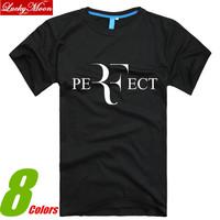 Summer 2014 Roger Federer perfect logo men t-shirt 100% combed cotton RF Tennis Sport New man short sleeve loose DIY tshirts