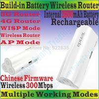 ChineseFirmware TENDA 4G300 Wireless 300Mbps 3G 4G Portable Router 300M Travel WiFi Internal 2600mAh Power Bank TD/FDD-LTE Modem