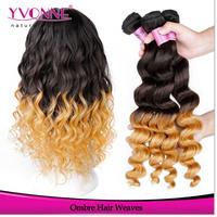 Loose Wave Ombre Hair,Grade 5A Peruvian Hair,14-24 Inches Remy Human Hair Extension, 3Pcs/lot Aliexpress Yvonne Hair