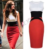2014 New Womens Fashion Patchwork Bodycon Ladies Red Slim Fit Pencil Dress Plus size S-XXL 19376