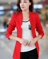 New Cheap Womens Blazers Ladies Suits Slim Solid Blazers for Women Single Button Suits for Women Five Colors Red / Black Blazers
