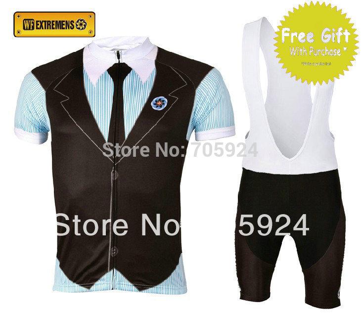 WF- Extremens Men's Unique Short Sleeve Cycling Bib Suit British Gentlemen Style Jersey + BIB Shorts maillot + Free Gift Scarf(China (Mainland))