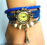 Fashion & casual high quality Cow Leather Strap Royal vintage punk bracelet eiffel tower women's Dress Watches