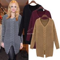 2pcs/lot new Women Long Twist Split Knitted V-neck Sweater Tops Jumper Pullover 19701