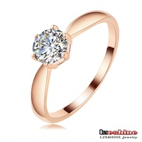LZESHINE Brand I Love You Wedding Engagement Ring Real 18K Rose Gold/Platinum Plated 6 Prongs Crystal Stone Rings Ri-HQ1116