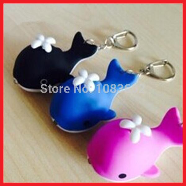 Free shipping Zoo shiny small whale solar led keychain(China (Mainland))