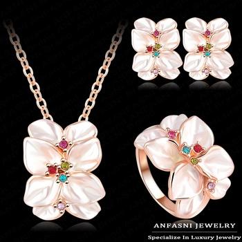 Бестселлер комплект ювелирных изделий 18K розовое золото плиты австрийских кристаллов ...