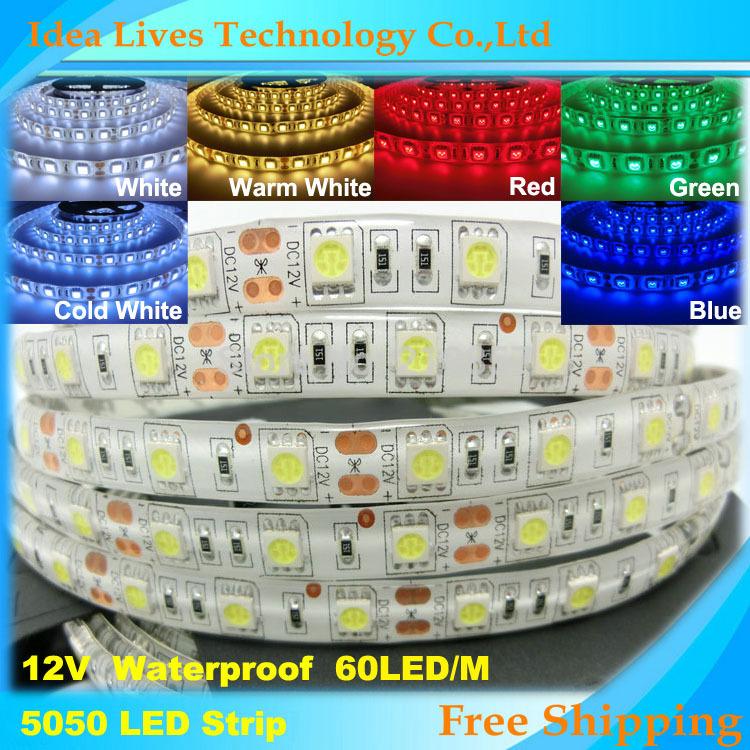 Waterproof SMD 5050 LED Strip 12V flexible light 60 leds/m 5m/lot, White,Warm White,Blue,Green,Red,Yellow,RGB(China (Mainland))