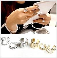 Sunshine jewelry store Shiny Punk Polish Gold Stack Plain Band Midi Mid Finger Knuckle Ring Set high quality Rock 2 colors