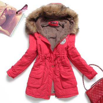 2014 winter Женщины jacket medium-Длинный thicken plus Размер outwear Закрытый wadded ...