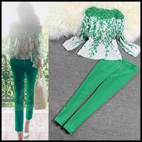 Spring 2015 green print chiffon women sheer lace blouses shirt blusas femininas ladies tops pants trousers clothing set