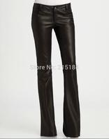 Winter Fashion 2014 Free shipping Women PU leather flare Pants Woman Black Pantalones Wide Leg pants Calca Feminina Trousers XXL