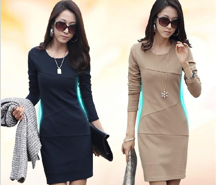 ESHOW FASHION Spring & Winter dress Women Korea style upgrade quality long-sleeved OL Slim dress large size dresses women(China (Mainland))