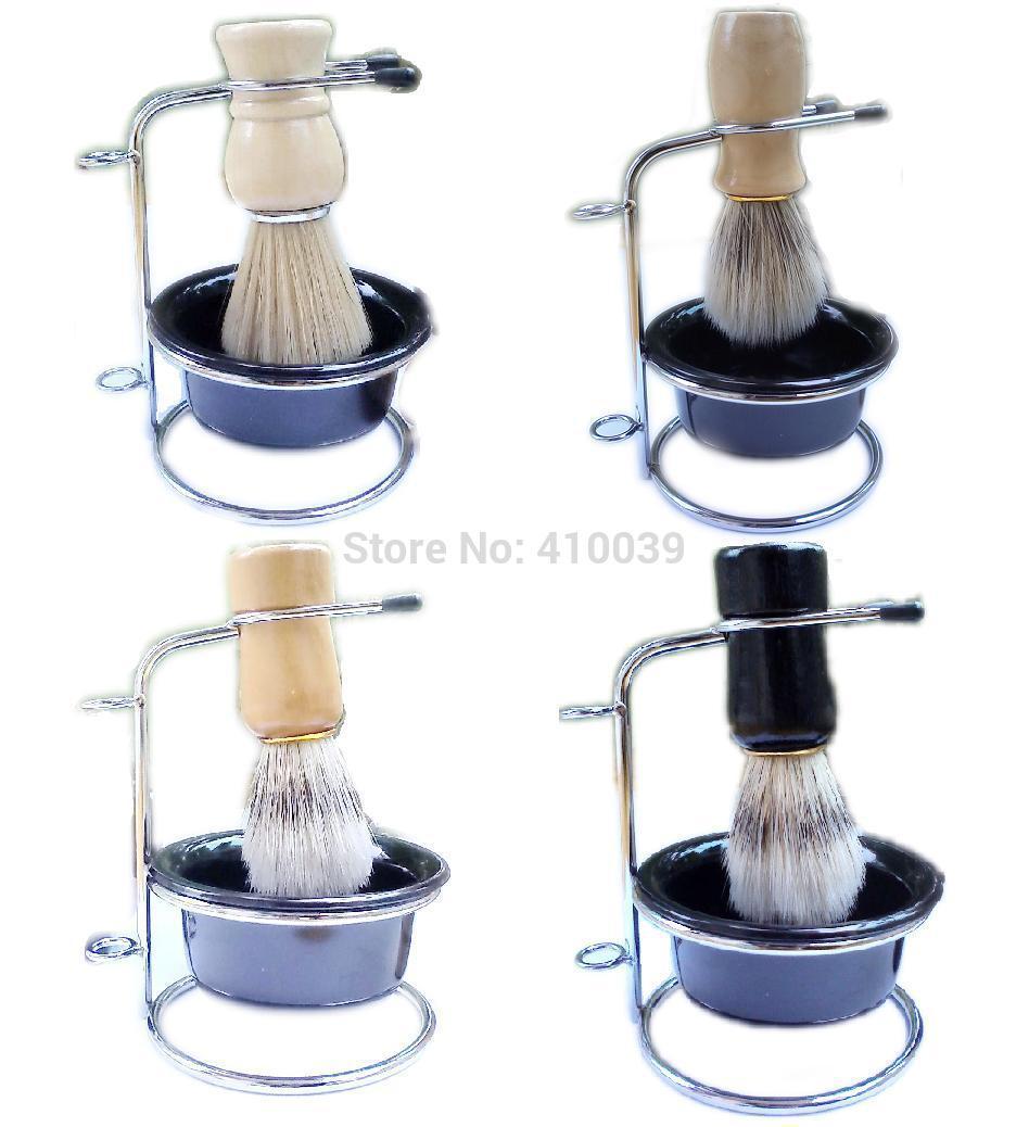 High Quality Men shave shaving set kit =shaving brushes(boar pig bristle/hair)+stainless shaving stand+soap bowl, free shipping(China (Mainland))