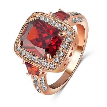 Lzeshine бренд винтаж красный австрийский обручальное кольцо 18 К роуз женская кольцо ...