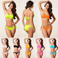 Bikini set swimwear women new 2014 Fashion sexy bikini  swimsuit Poly chest Cheap sale Beach Bikini 4 size Push Up Padded Cup