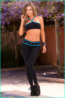 2014 Yoga Sport Gym Gloss Army Giselle  Stretched Women's  Capri Long Leggings  grommets & striping  wrap the waist 8 Colors