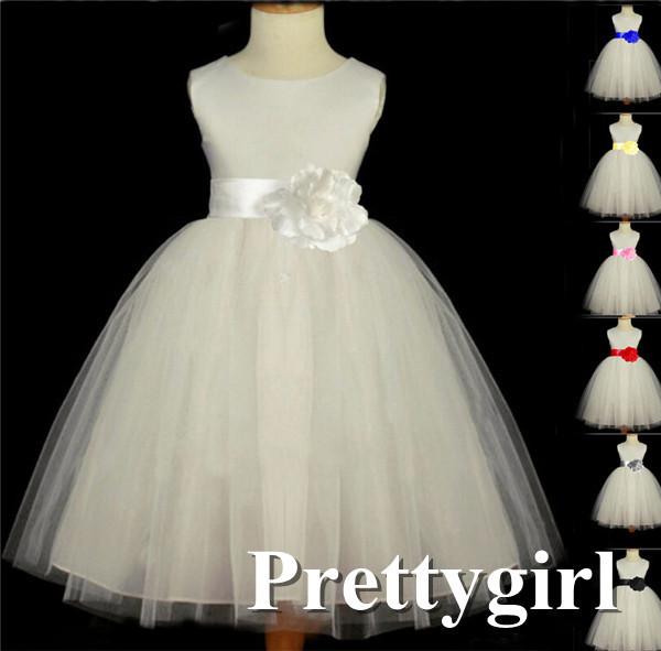 Hot 2014 fleur fille robe de mariage robe de princesse enfants nouvelle arrivée avec l'arc pour enfant