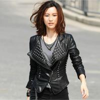Rivet jaqueta de couro feminina 2015 New Winter Women Coat Short Zipper Motorcycle Leather Jacket Women Pu Leather Clothes
