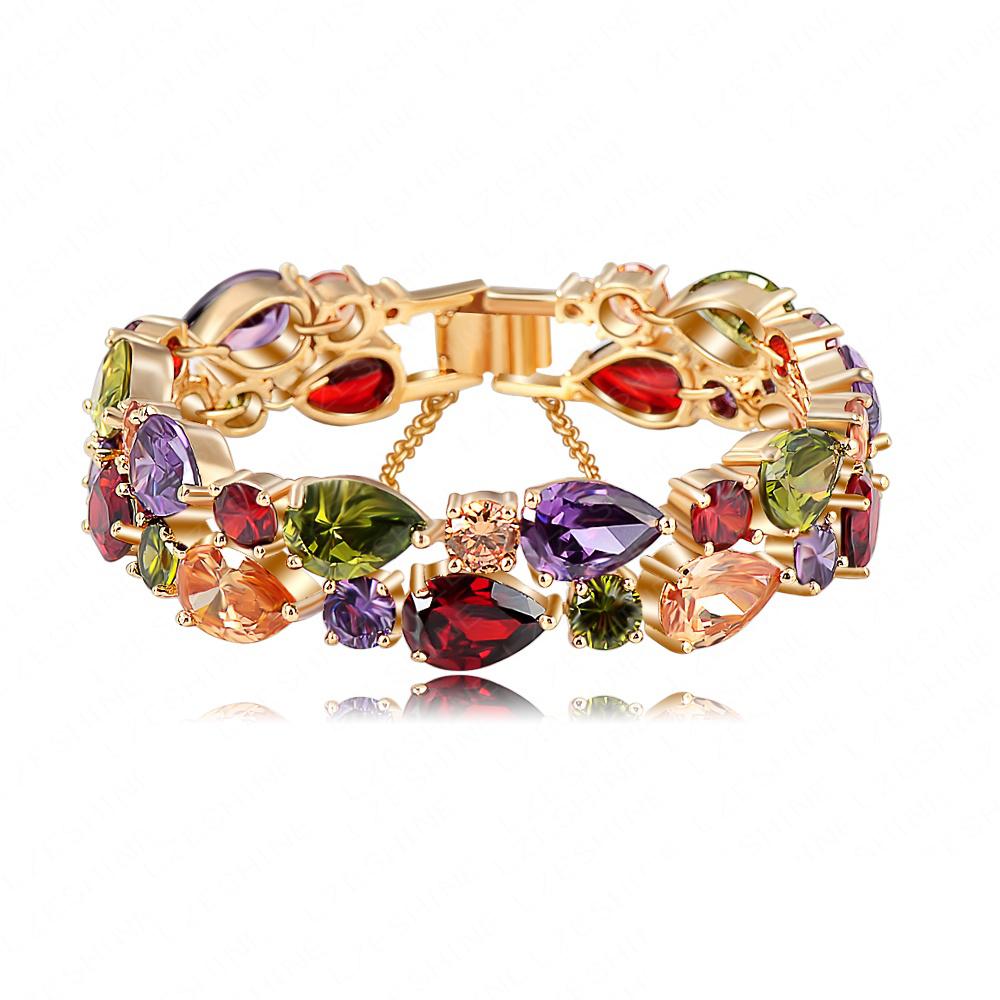 Bracelets & Bangles 2013 New Design Colorful AAA Zircon Bracelet 18K Gold/Rose Gold Plate Women Bracelet Fashion Jewelry CBR0004(China (Mainland))