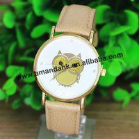 100pcs/lot Big Promotion Fashion Owl Women Dress Watches Girl's Analog Quartz Wrist Watch Hot Cute Student Watches