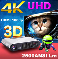 Top Quality 4000lumen Quad core Android 4.2 Mirco Smart WiFi RJ45 Bluetooth Full HD 1080p 3LED Portable DLP Real 3D TV Projector