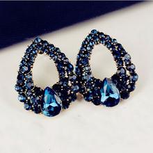 Free shipping 2014 New Fashion Jewelry Blue Crystal Stud Earrings Vintage  Earrings For Women Ornaments