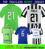 A+++ Top Men Thailand Juve Kit Juve 14 15 Soccer Futbol Jersey Custom NAME POGBA TZVEZ VIDAL Pirlo Llorente