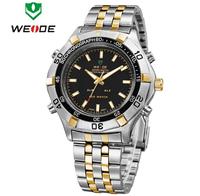 WEIDE Luxury Brand Men Full Steel Sports Watches Analog LED Digital Display Multifunction Alarm Quartz Military Watch