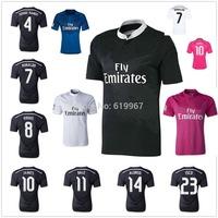 JAMES Ronaldo KROOS 2015 Real Madrid away black home soccer jerseys BALE RAMOS top thai quality football uniform embroidery logo