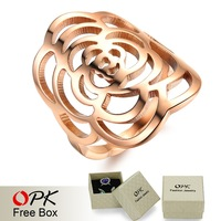 OPK JEWELRY Free Box! 2014 New Fashion Hollow Flower Ring Exaggerate Stainless Steel Women Delicate Wide Party Ring 391