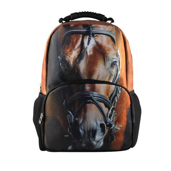 2014 Big Sale 3D Animal Felt Backpack Men's Backpack Horse Face School Backpack Bag Men Travel Backpacks College Student Bookbag(China (Mainland))