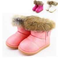 Botas De Meninas Real rabbit fur children kids girls boots fur warm Shoes plush waterproof winter Leather snow Boots BK L86