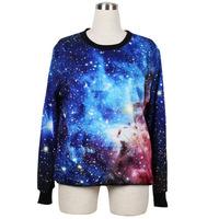 Free shipping wholesale Women Girl Blue Galaxy Star Digital Printed Jumper Sweater Crew Neck WS02
