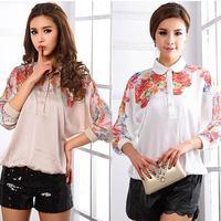Spring 2014 Plus Size Clothing Fashion Print Batwing Sleeve Loose Imitated Silk Chiffon ShirtS Blouse Women's Tops